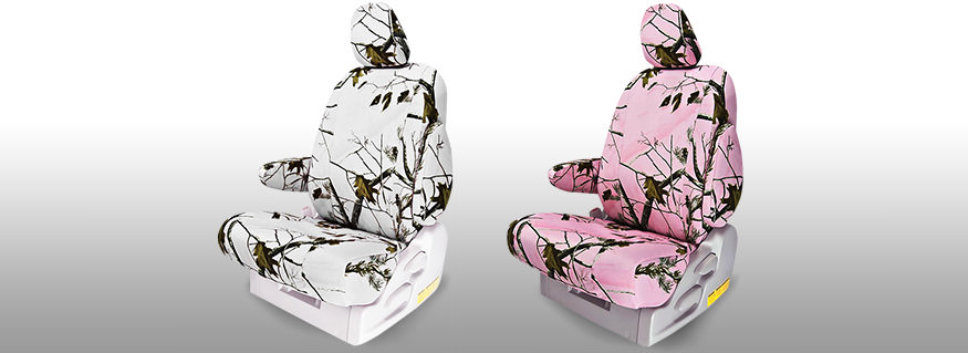 Snow and Pink Camo Seat Covers