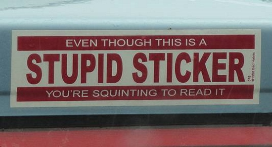 Hilarious bumper sticker