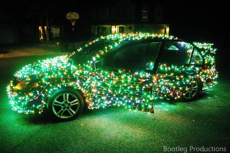 Green Christmas Lights Car