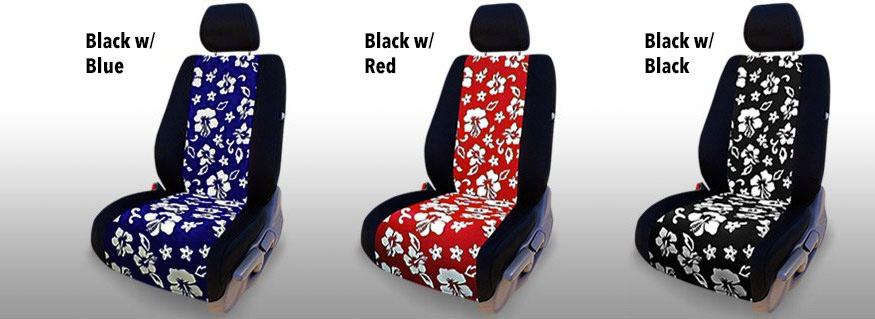 Three Installed Hawaiian Seat Covers Black Red and Blue All With Black Trim