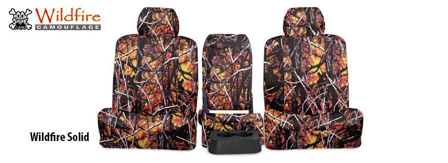 Installed Set of Camo Seat Covers Solid Wildfire