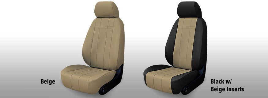 Two Installed Leather Like Seat Covers Beige and Black with Beige Inserts