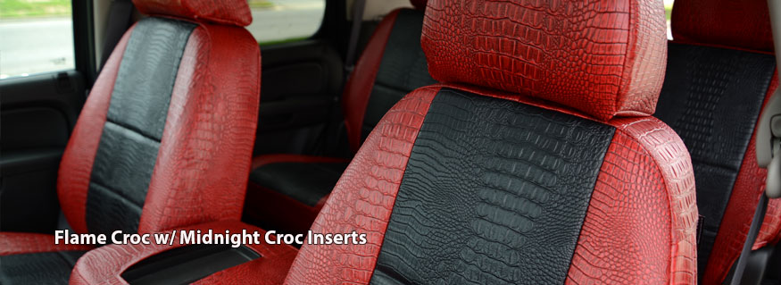 Installed Exotic Gator Seat Covers Flame Croc with Midnight Croc inserts