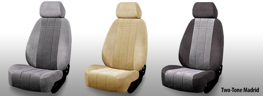 Three Installed Cloth Seat Covers Two Tone Colors